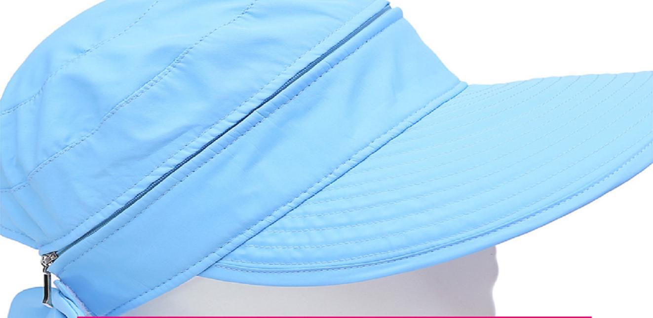 Mũ rộng vành chống nắng kèm khẩu trang cao cấp màu xanh ngọc, nón chống nắng 360 độ điều chỉnh