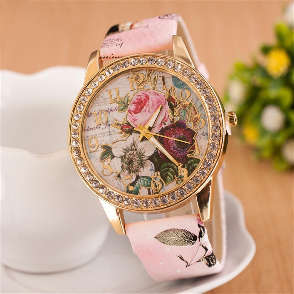 Đồng hồ nữ đẹp họa tiết hoa hồng 3D thời trang siêu xinh DH93