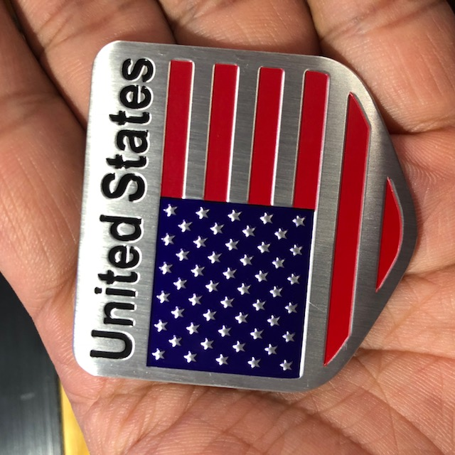 Tem nhôm cờ United States dán trang trí Ô Tô, Xe Máy (5 x 5 cm)