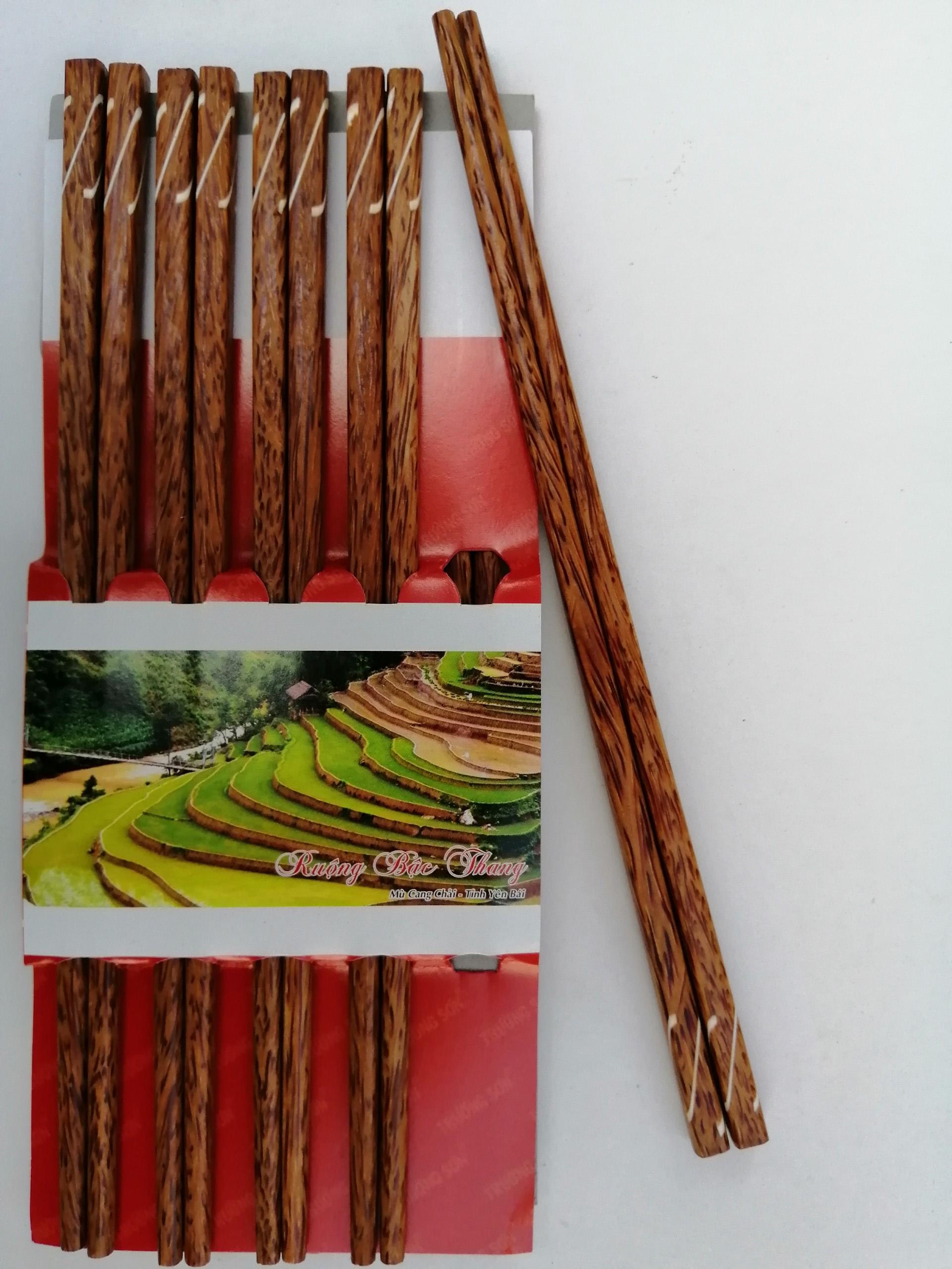 Đũa Gỗ Dừa Ghép - Đồ Gỗ Nhà Bếp Thương Hiệu Trường Sơn (10 Đôi / Vỉ)