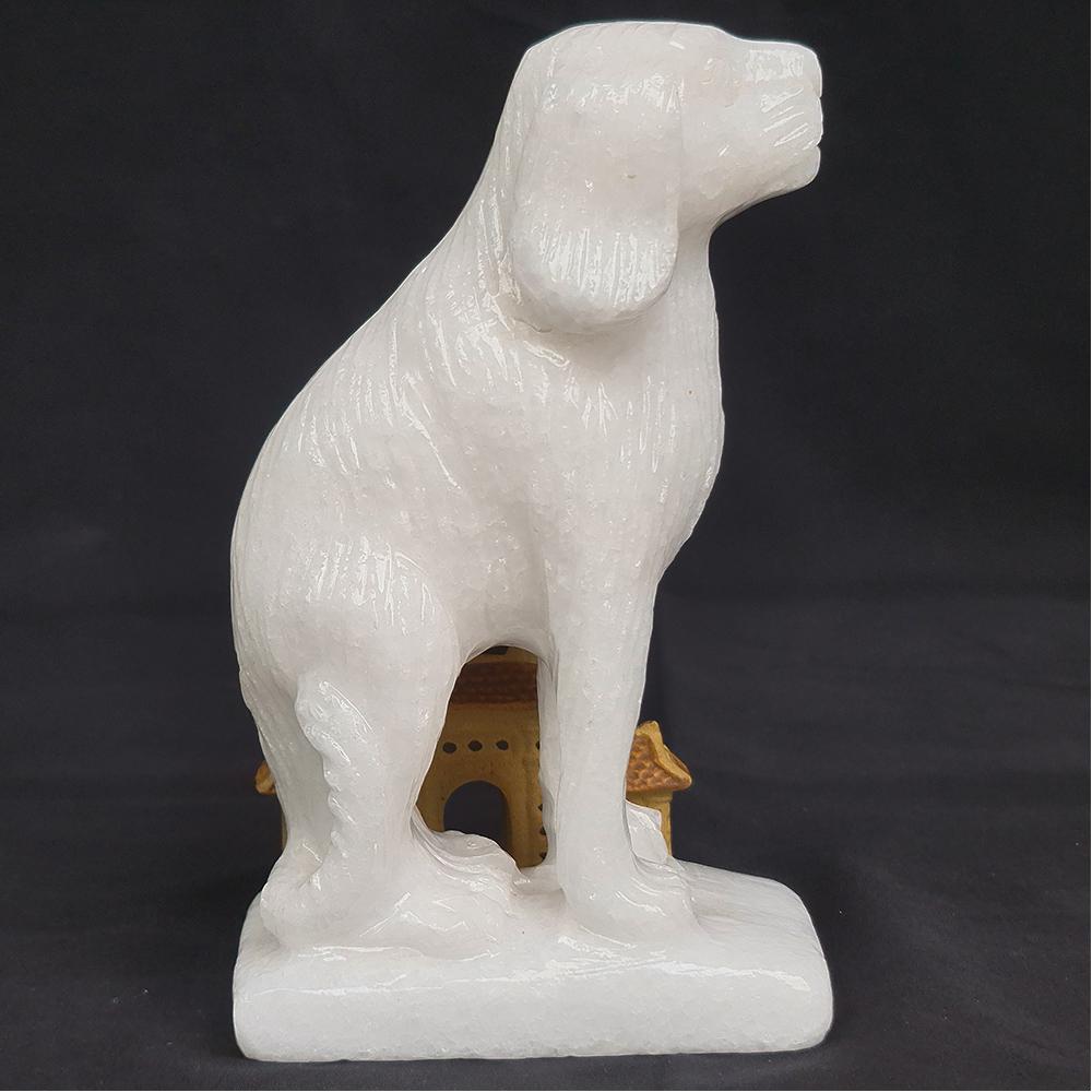 Tượng Phong Thuỷ Tuổi Tuất - Chó 12 Con Giáp Đá Trắng - 15cm - Mx - Hợp Mệnh Kim Thuỷ