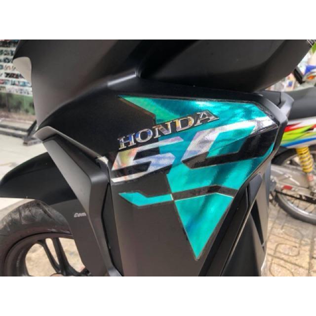 Tem dành cho xe Vario 2018 mẫu zin xanh ngọc Crom rời dán xe đen sắc nét không bay màu (bộ)