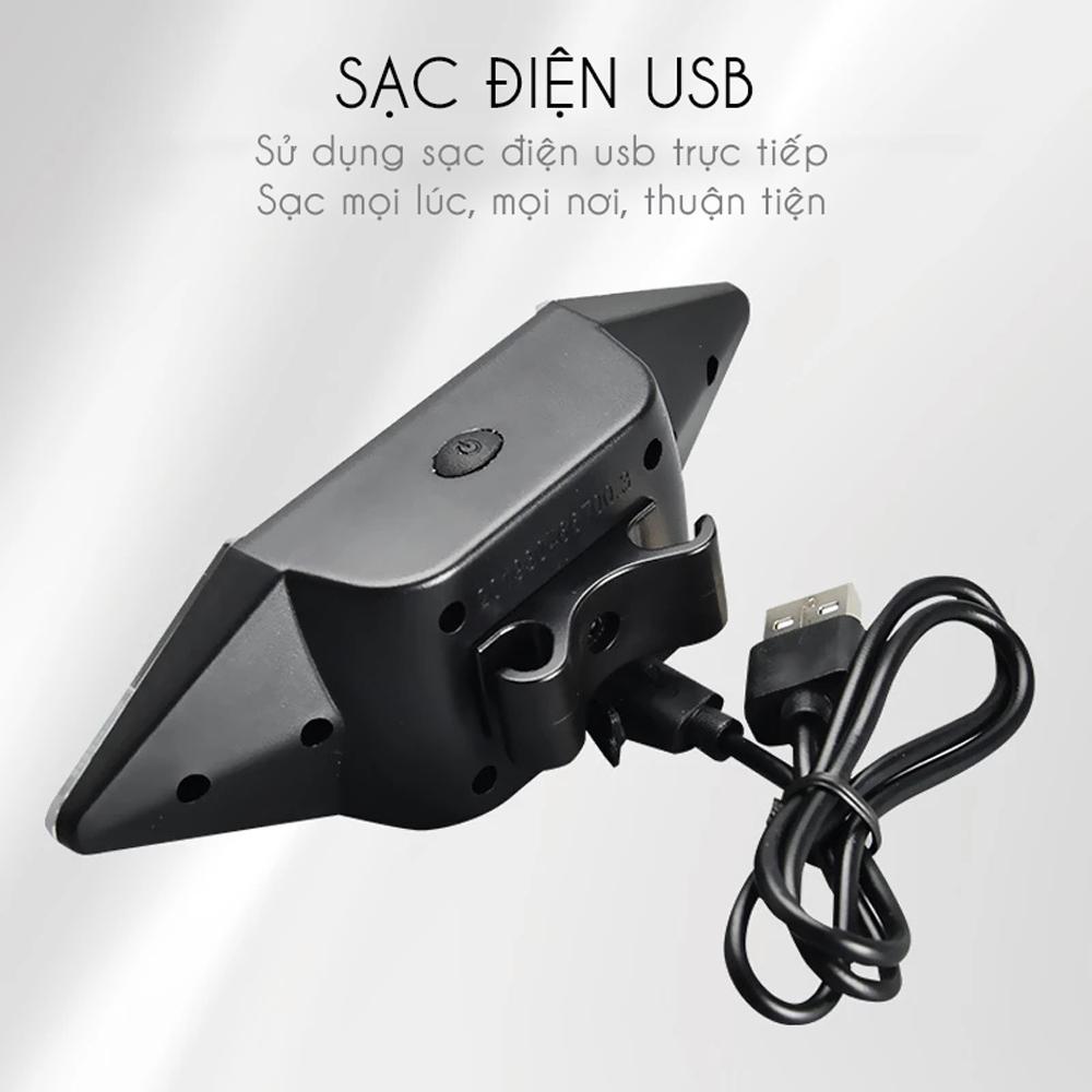 Đèn LED Xi Nhan Không Dây Rẽ Trái Phải Gắn Đuôi Xe Đạp Điều Khiển Không Dây Từ Xa Sạc Điện USB Mai Lee