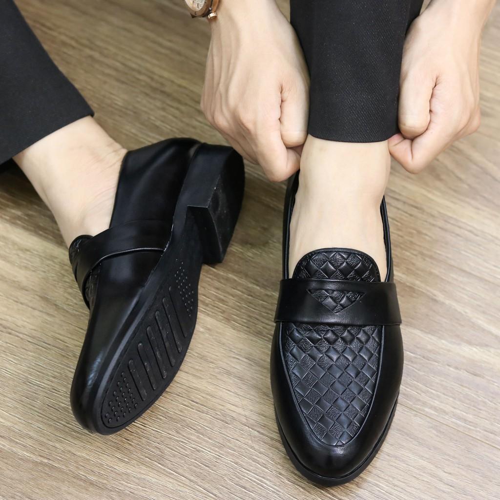 Giày lười da nam,  Đế cao 3cm, Có khâu đế chắc chắn, MãL136 màu đen, Hàng Việt