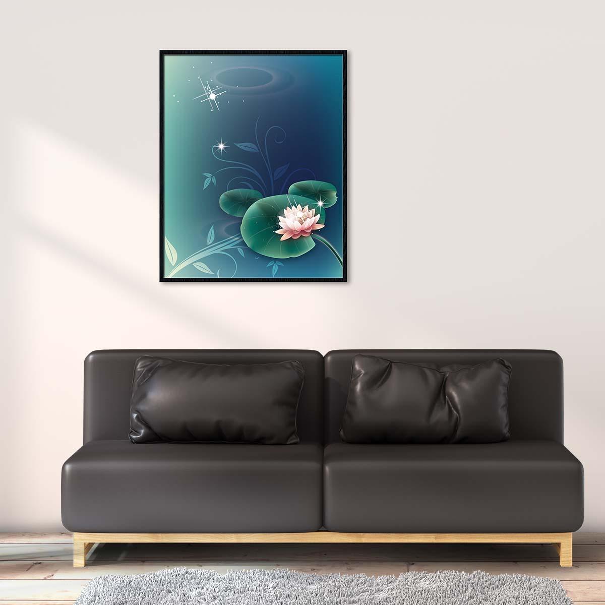 Tranh Canvas treo tường hoa sen sắc hồng - HS005