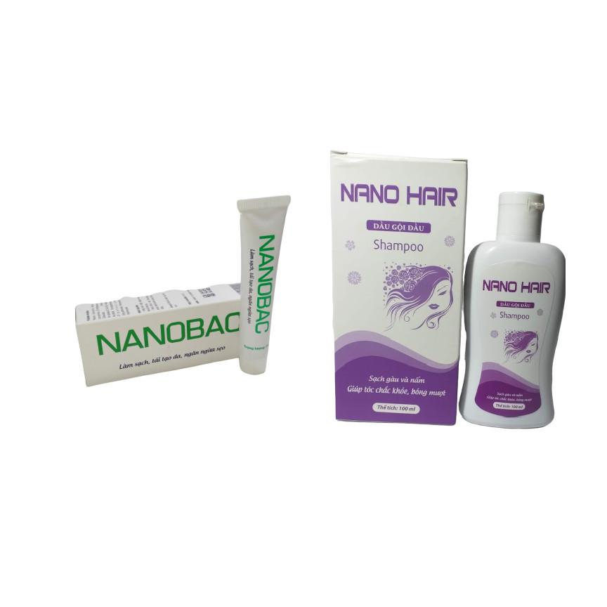 [BỘ SẢN PHẨM] Gel bôi Nano Bạc làm sạch da, mờ sẹo và thâm do mụn- tuýp 20g & Dầu gội ngừa gàu và nấm da đầu NANO HAIR giúp tóc sạch gàu và chắc khỏe chai 100ml, hàng chính hãng