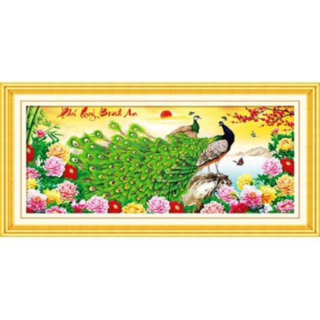 Tranh thêu chữ thập Phú Quý Bình An (96*47cm) chưa thêu