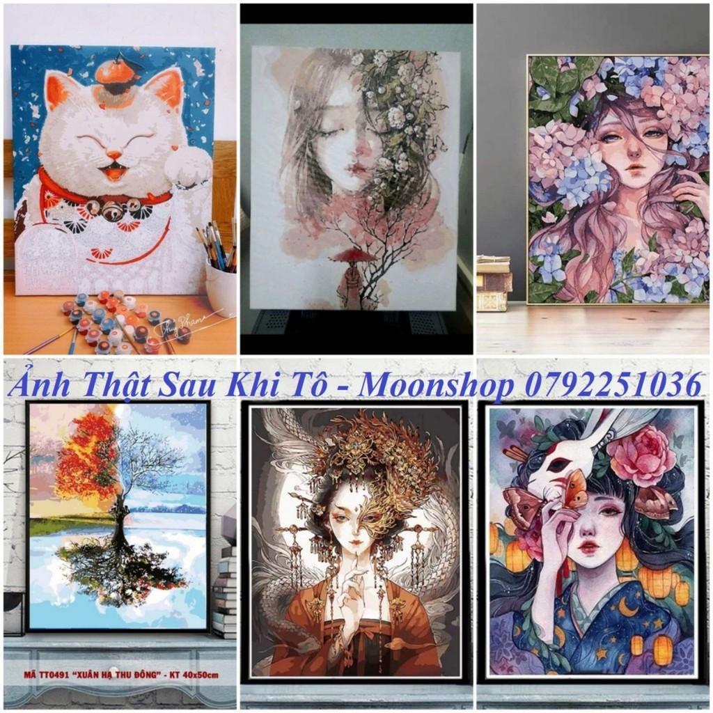 Tranh sơn dầu số hóa rẻ,đẹp-tranh tô màu theo số- tranh mèo hoa đào , Tặng khăn,khung gỗ 40x50-Moonshop-T1