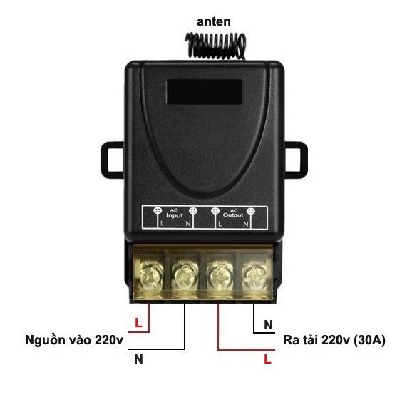 Công tắc điều khiển từ xa 100M xuyên tường công suất lớn 30A (3000W)/ điện áp 110-220V (Đen)