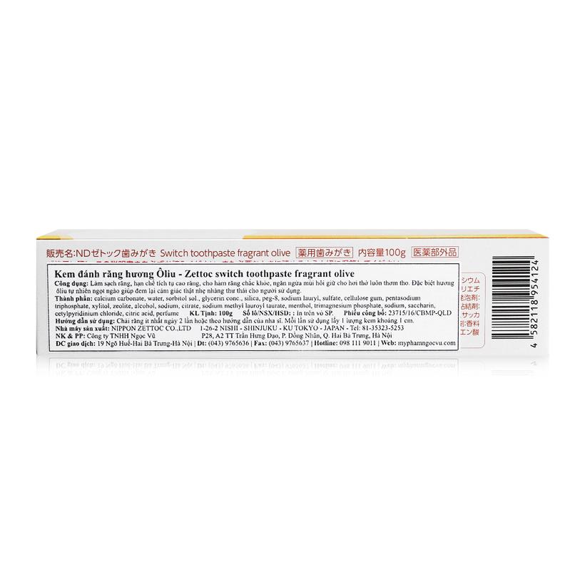 Kem đánh răng hương ô liu Switch Toothpaste Fragrant Olive 100g(ZS)