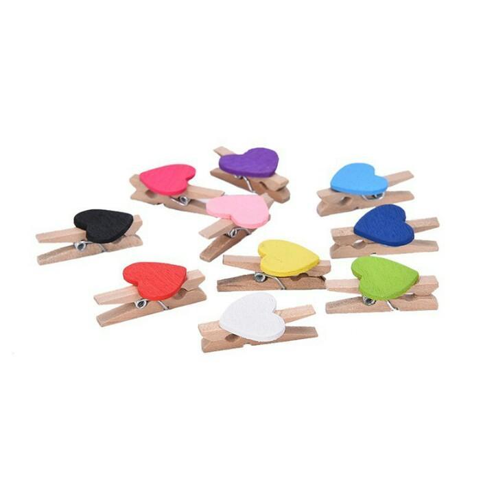 Bộ 10 Kẹp gỗ trái tim mini