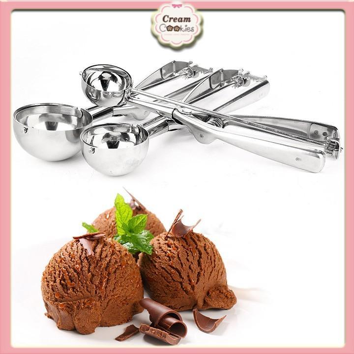 Muỗng múc kem\Muỗng xúc hoa quả trải cây bằng inox 4cm-5cm-6cm