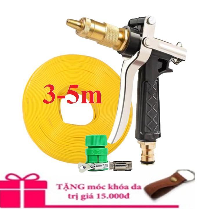 Bộ dây vòi xịt nước rửa xe, tưới cây .tăng áp 3 lần,loại 3m, 5m 206236 đầu đồng,đai,nối nhựa vàng+ tặng móc khoá