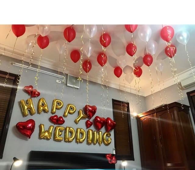 set bóng trang trí phòng cưới, phong tân hôn tông đỏ tặng kèm bơm tay, băng dính bóng, dây ruy băng