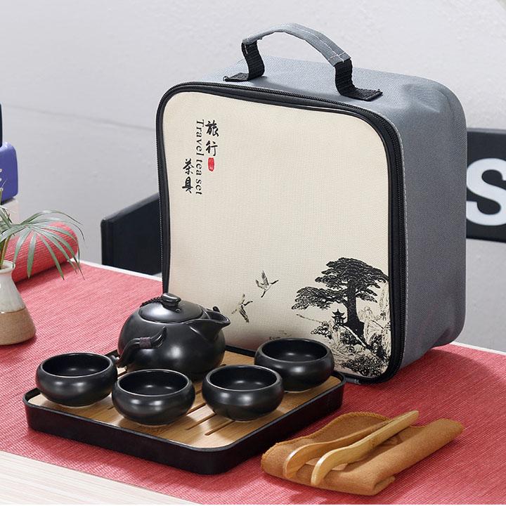 Bộ ấm chén trà đạo sứ ngọc có khay gỗ đựng phong cách Nhật Bản