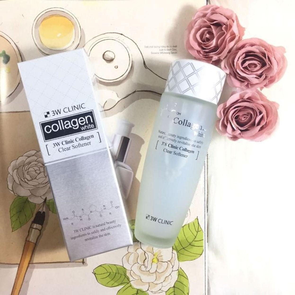 Nước Hoa Hồng Dưỡng Trắng 3W Clinic Collagen White Clear Softener 150ml - Chính hãng
