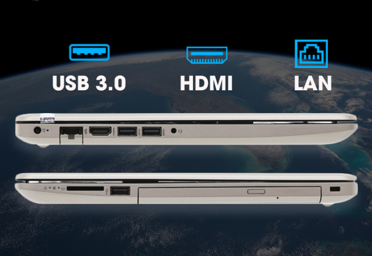 Cổng kết nối trên Laptop văn phòng HP 15 da1023TU (5NK81PA)