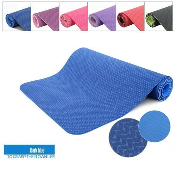 Thảm tập yoga TPE 6mm 2 lớp chống trơn (Túi đựng + màu ngẫu nhiên)
