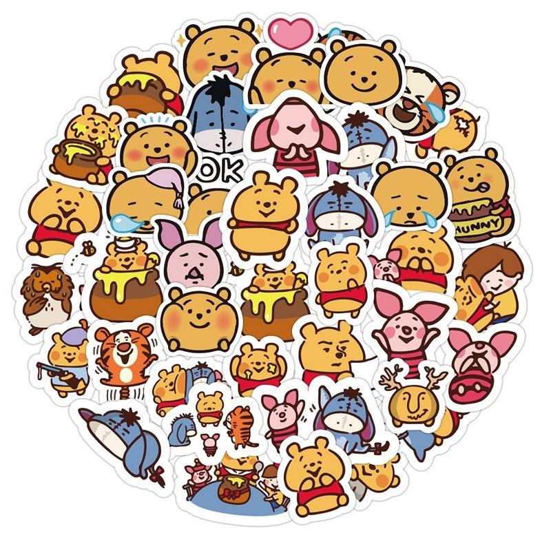 Sticker 50 miếng hình dán Gấu Pooh SetA