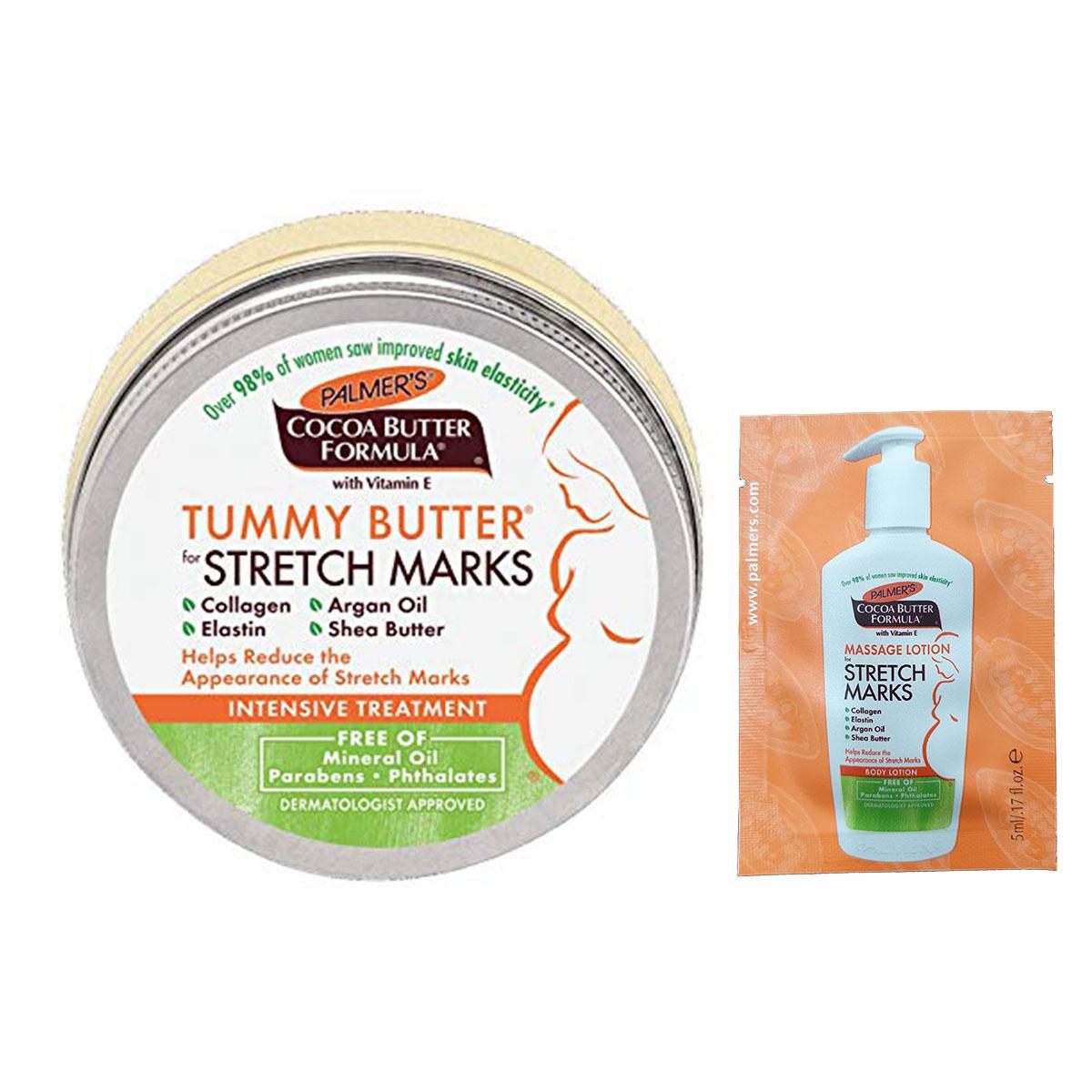 Bơ đậm đặc ngăn ngừa rạn da từ tháng 7 đến cuối thai kỳ và sau sinh Palmer's Cococa Butter Tummy Butter Stretch Marks 125g + Tặng Lotion rạn dạ Palmer's 5ml