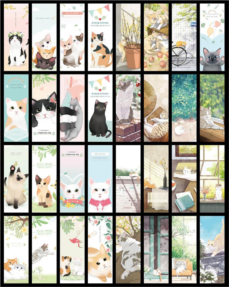 Hộp 32 Bookmark Đánh Dấu Sách Mèo Đáng Yêu (Mẫu Ngẫu Nhiên)