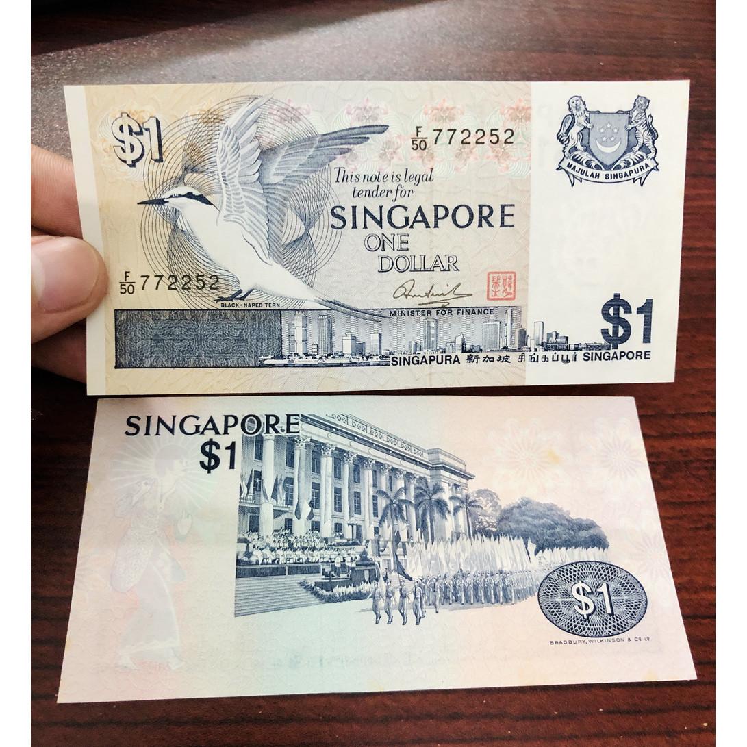 Tiền giấy Singapore 1 Dollar xưa năm 1976 tuyệt đẹp hình chim bồ câu - kèm bao lì xì - mới 100% UNC