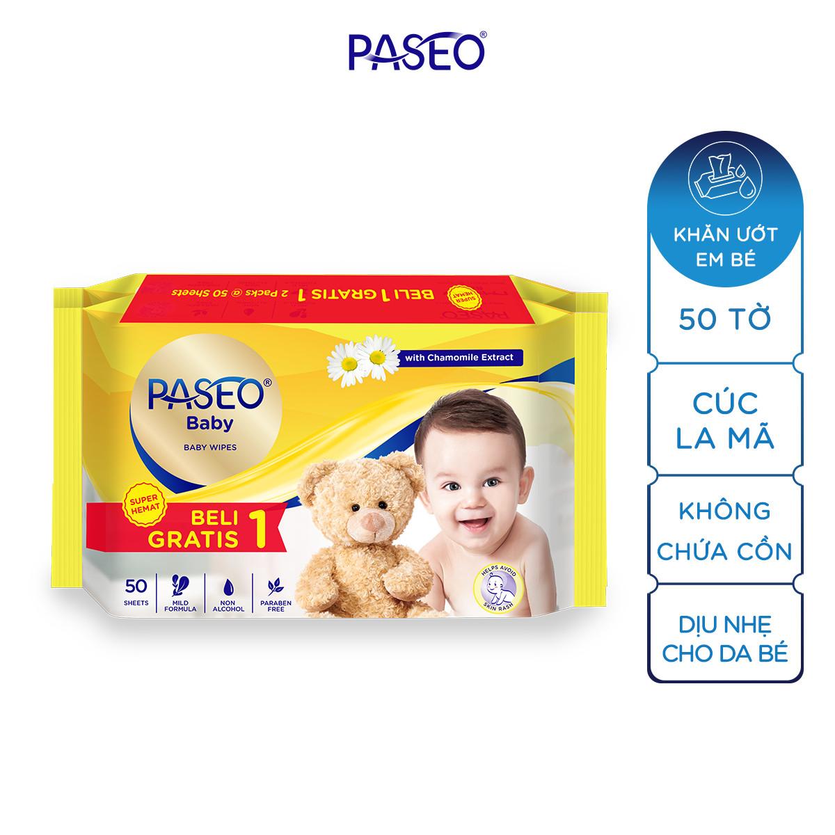 Combo 2 gói khăn ướt em bé Paseo 50 tờ chiết xuất tinh dầu hoa cúc La Mã