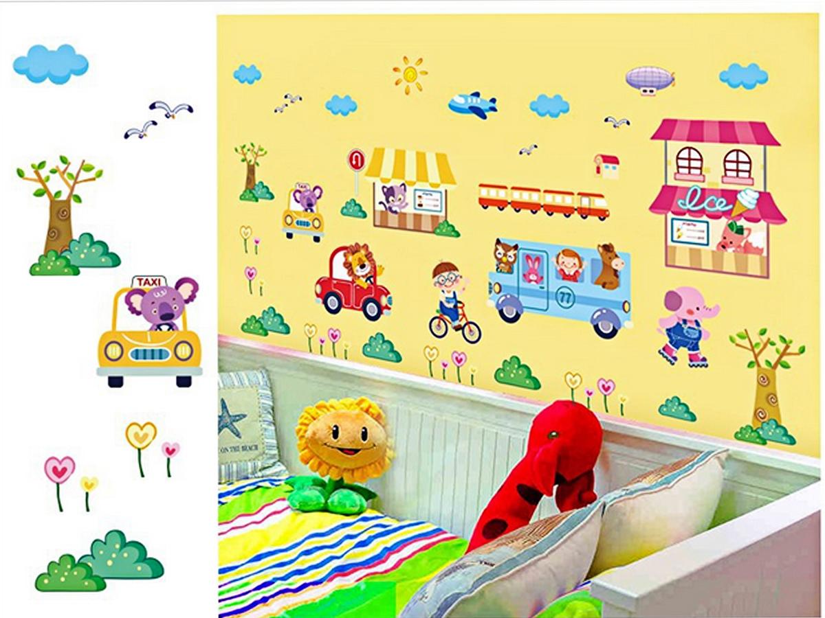 decal dán tường cho bé thú bán hàng và lái ô tô xl8225