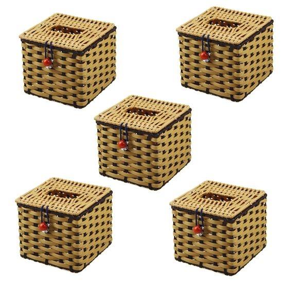 Bộ 5 hộp đựng giấy ăn mây đan thủ công (12 x 12 x 8 cm)