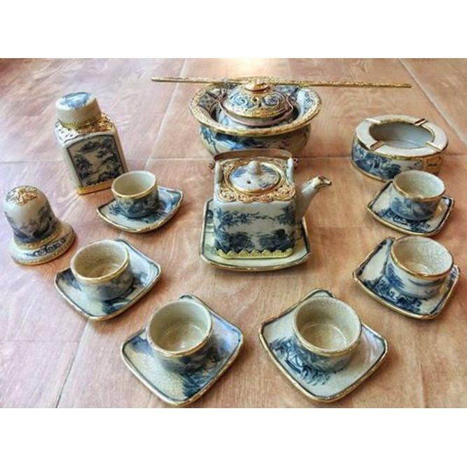Bộ bình trà Vuông men rạn cổ bọc đồng bao gồm phụ kiện