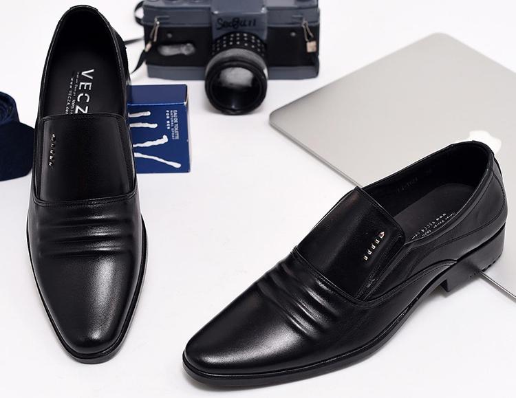 Giày Tây Nam Da Bò Họa Tiết 3 Gân N1621M - Đen