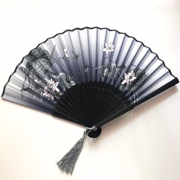 Quạt cổ phong dây tuyến hoa sen xám quạt xếp cổ trúc quạt xếp cầm tay phong cách Trung Quốc quạt trúc cầm tay quạt phong cách cổ trang Trung Quốc in hoa trang trí tặng ảnh thiết kế vcone