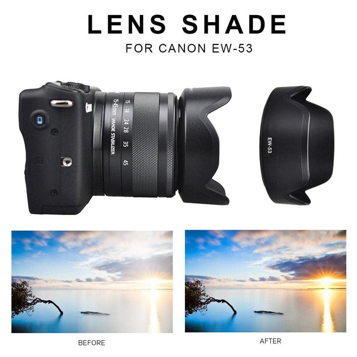 Loa che nắng hood EW-53 Canon M10 ống kính 15-45 STM