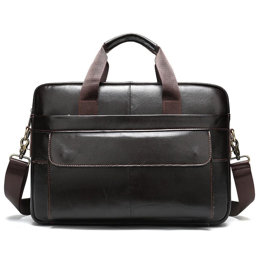 Túi xách cặp da đựng laptop da bò cao cấp T35 38.5x26x7cm (Nâu-Đen)