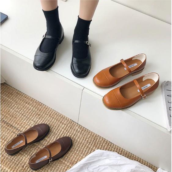 Giày búp bê mũi tròn đế gỗ style vintage G008