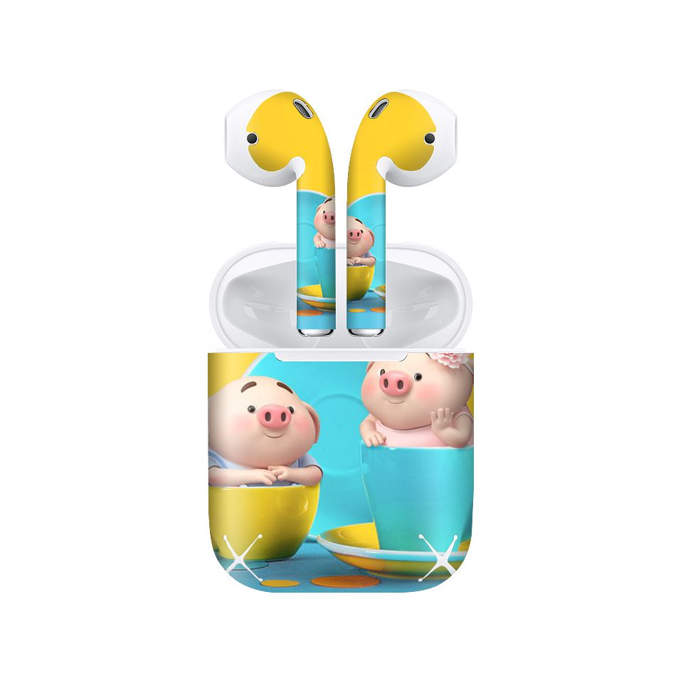 Miếng dán skin chống bẩn cho tai nghe AirPods in hình Heo con dễ thương - HEO2k19 - 189 (bản không dây 1 và 2)