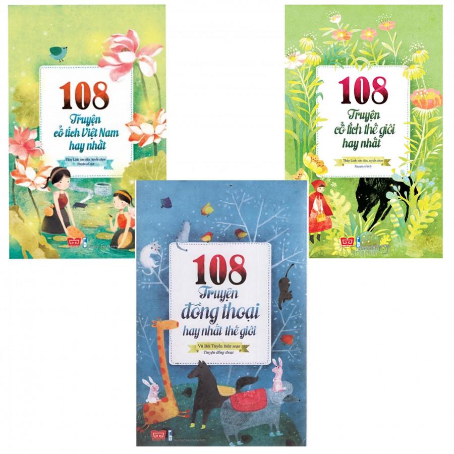 Combo 3 cuốn 108 Truyện Cổ Tích Việt Nam, Thế Giới Hay Nhất - Tặng 2 bút bi hình & 3 bookmark