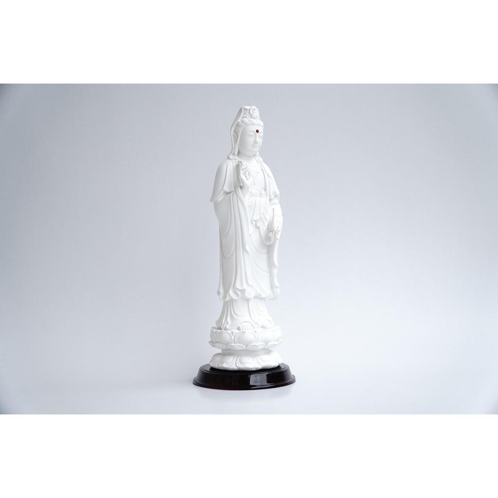 Tượng Phật Bà Quan Thế Âm Bồ Tát đứng trắng ngà - Cao 25cm