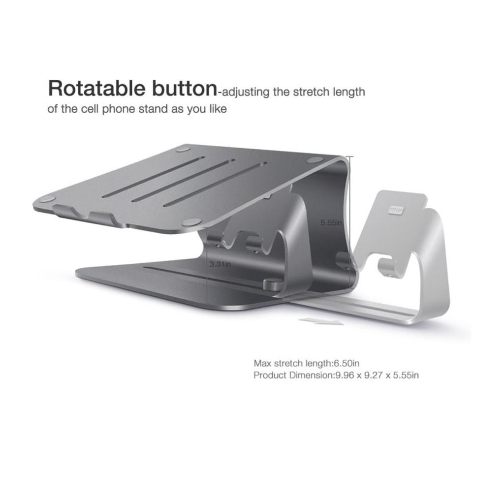 Giá đỡ bàn kê macbook kiêm giá đỡ điện thoại 2in1 Bestand nhôm nguyên khối - hàng cao cấp