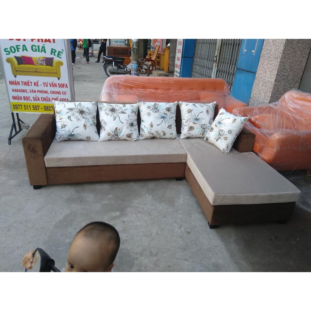 sofa góc L vải nhung