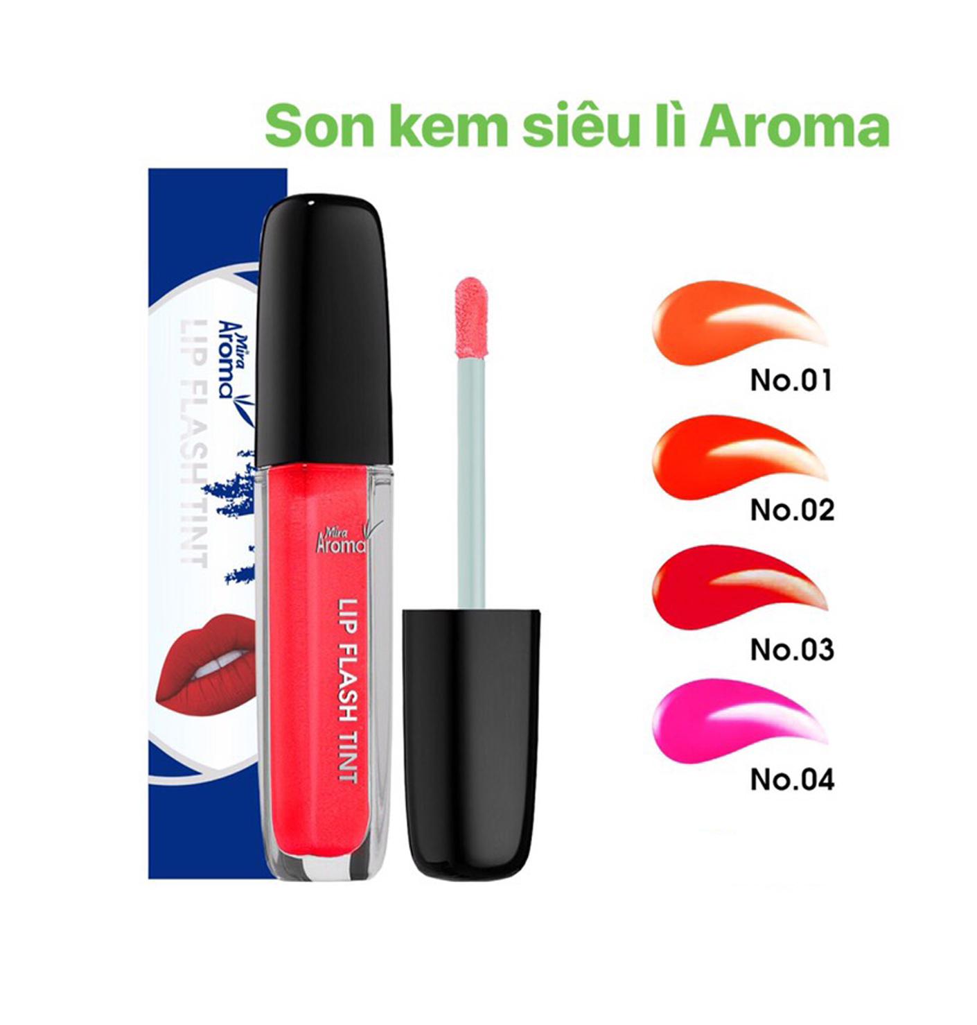 Son kem siêu lì Aroma Lip Flash Tint Hàn Quốc No.2 Màu đỏ cam tặng kèm móc khóa