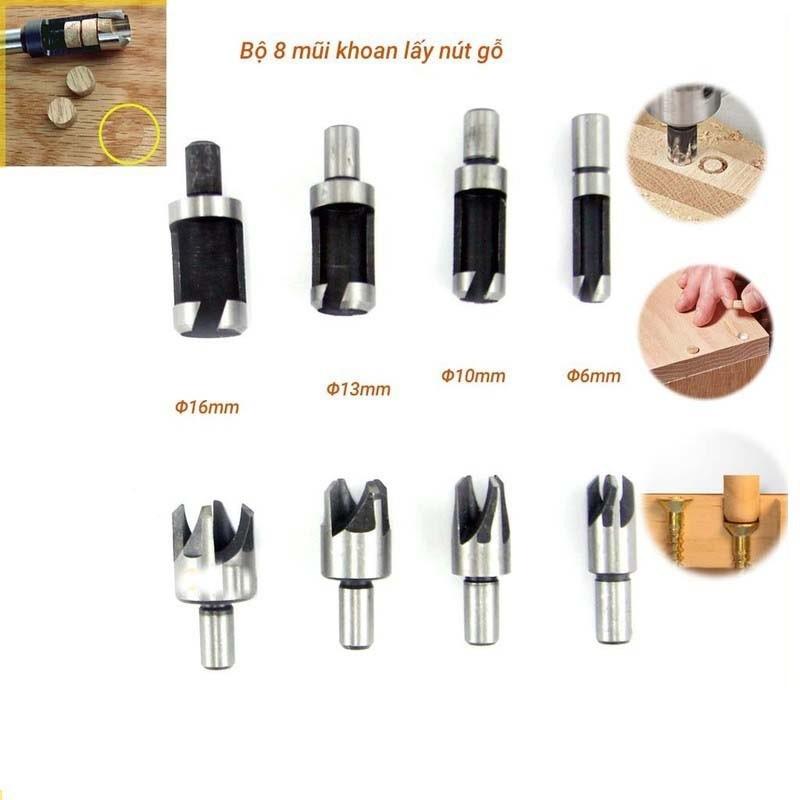 Bộ 8 mũi khoan lấy nút gỗ, lấy chốt gỗ - Mũi khoan gỗ, mũi khoan gỗ