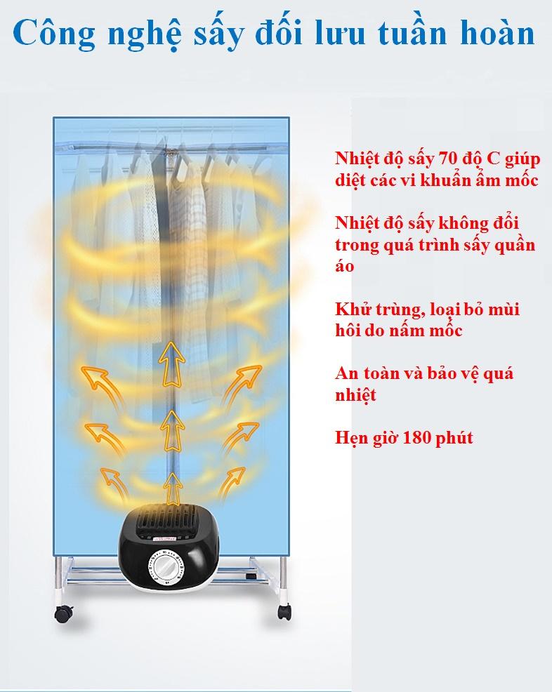 Tủ sấy quần áo - Khung inox chắc chắn- công nghệ sấy PTC 1000W