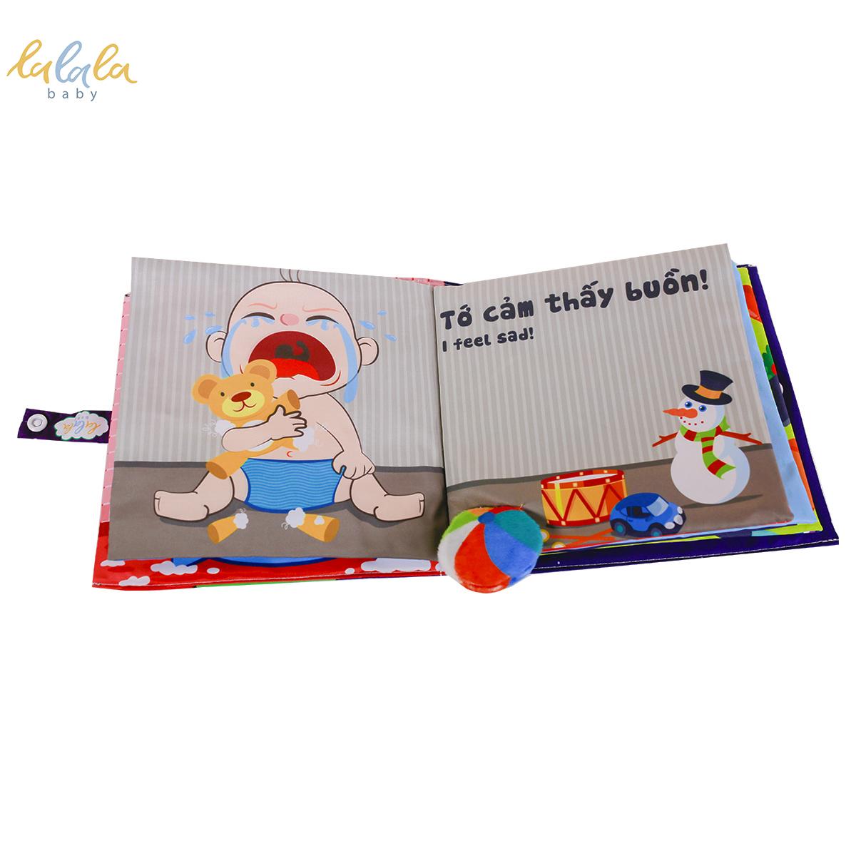 Sách vải Song ngữ Bé cảm thấy thế nào kích thước 18x18cm, Sách vải tương tác sột soạt thú vị, Bé phát triển đa giác quan. CHÍNH HÃNG. Dành cho bé từ 0-3 tuổi