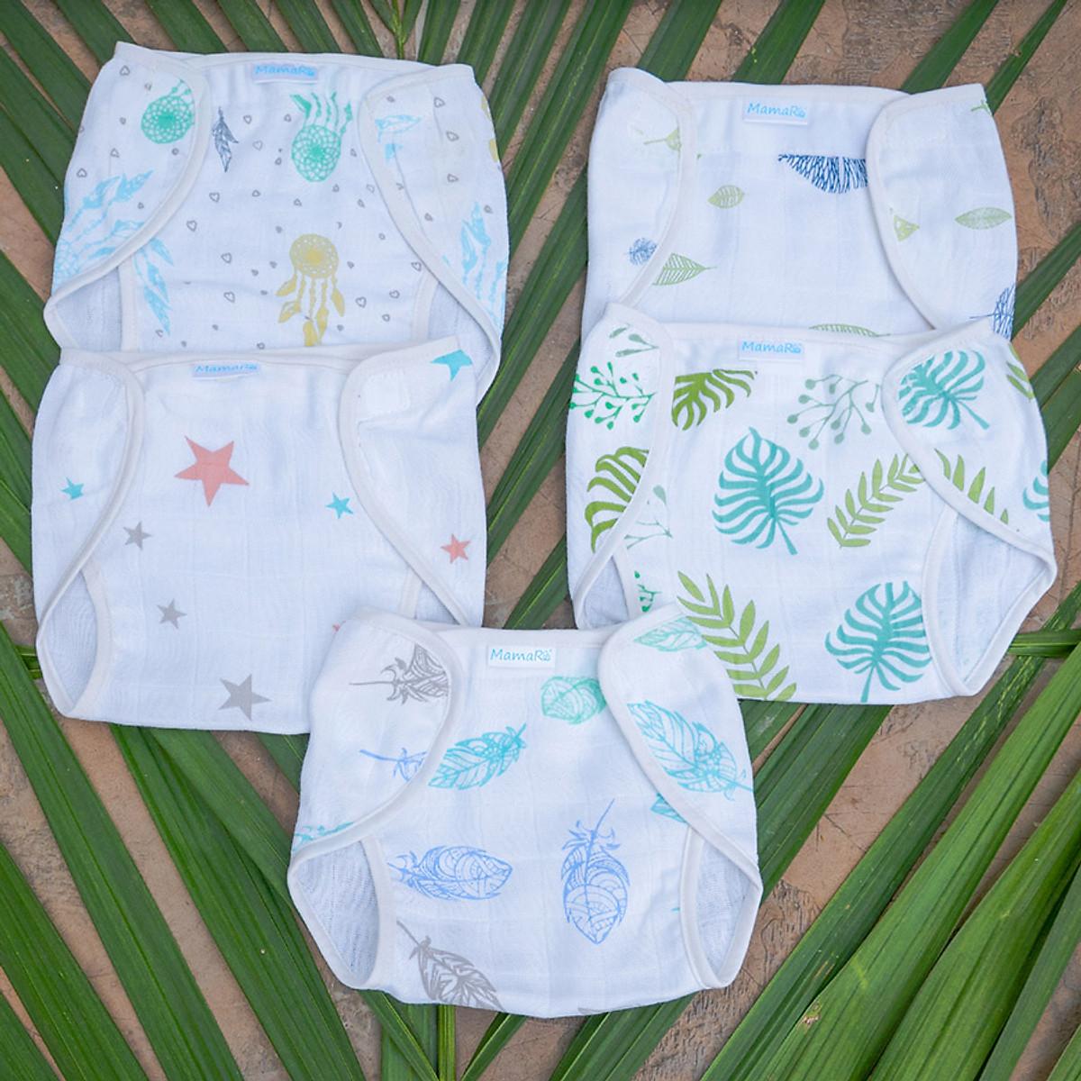 Bộ 3 cái tả quần vải sợi tre cho bé mềm mại Mamaru MA-TQ01 - Diệt khuẩn, hút ẩm tốt, kháng tia UV