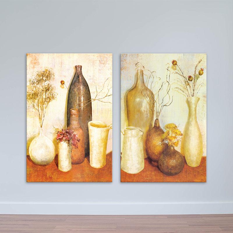 Bộ 2 tranh tĩnh vật màu nóng | Tranh trang trí phòng khách, phòng bếp W1690