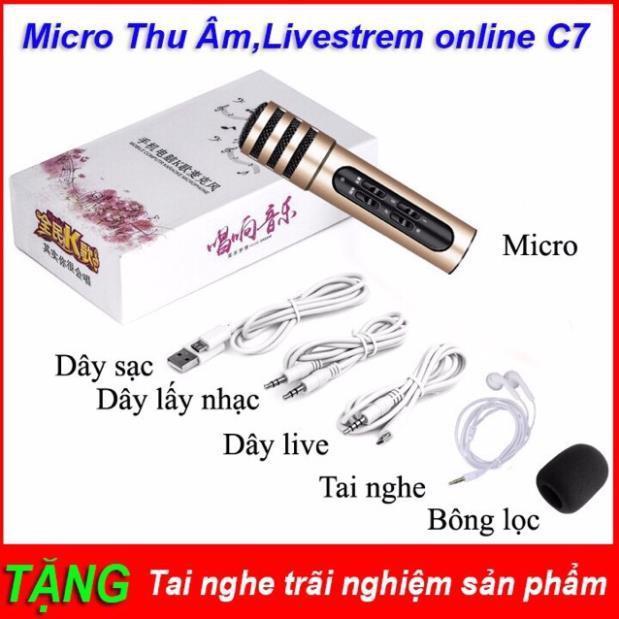 Micro karaoke thu âm livestream C7 kèm clip test