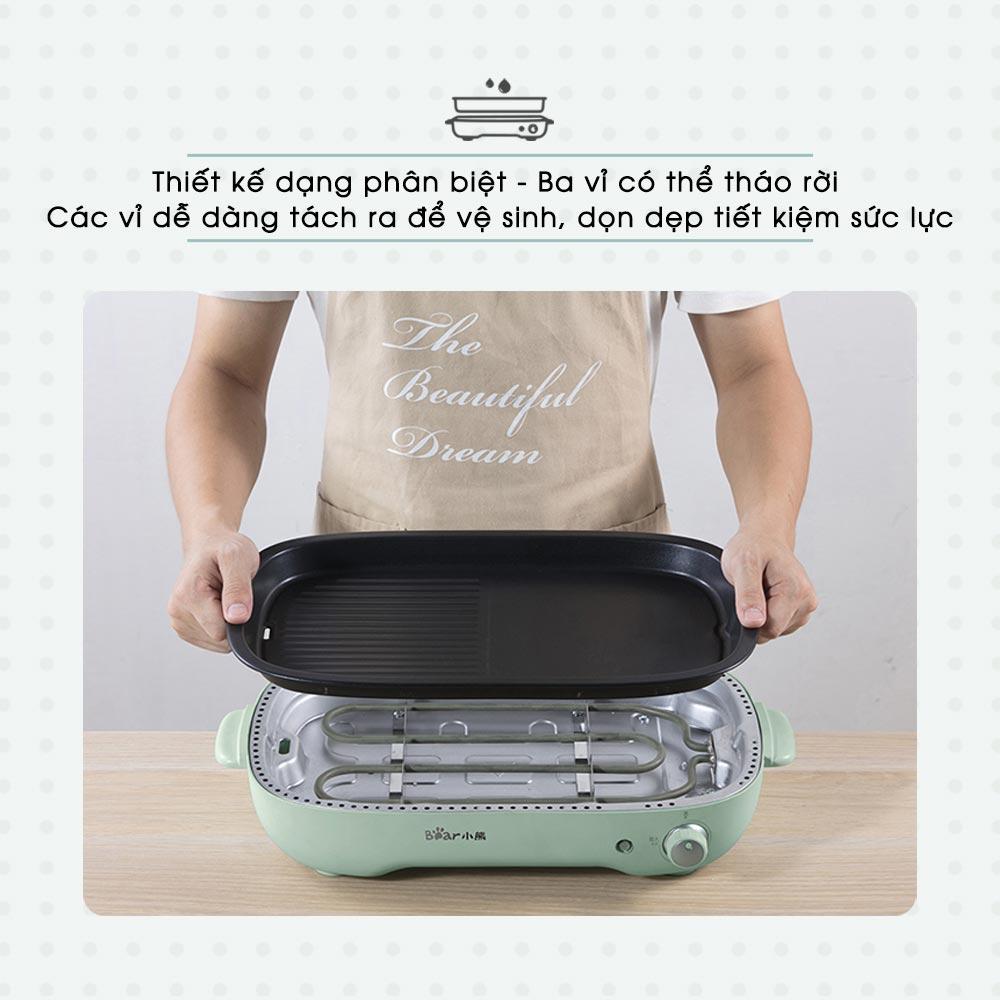 Nồi Lẩu Nướng Đa Năng 3 Trong 1 Bear DHG-C40D5 làm lẩu, nướng và bánh pancake - hàng chính hãng