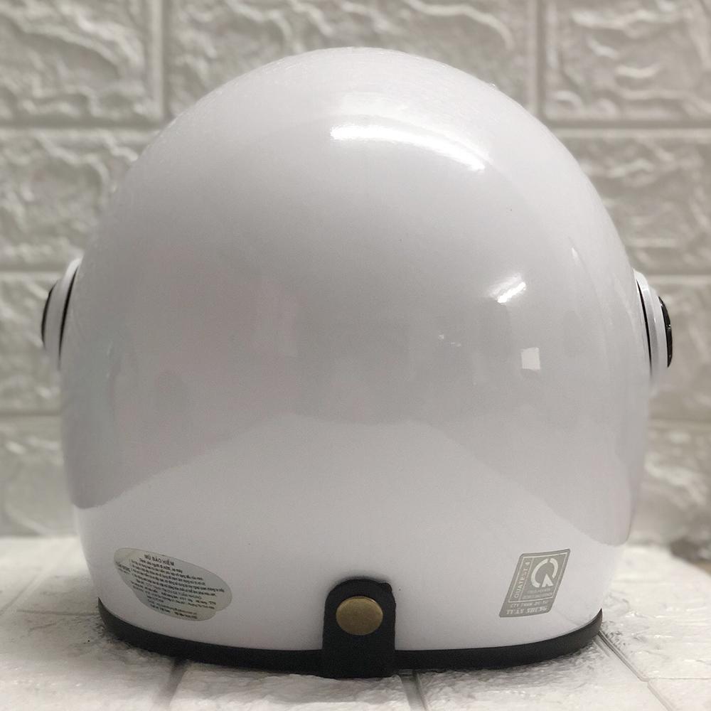 Mũ Bảo Hiểm Có Kính 3/4 Đầu N025 Bopa – Màu Trắng bóng Kính Trong _ Chống bụi, chống nắng đi được cả ban đêm