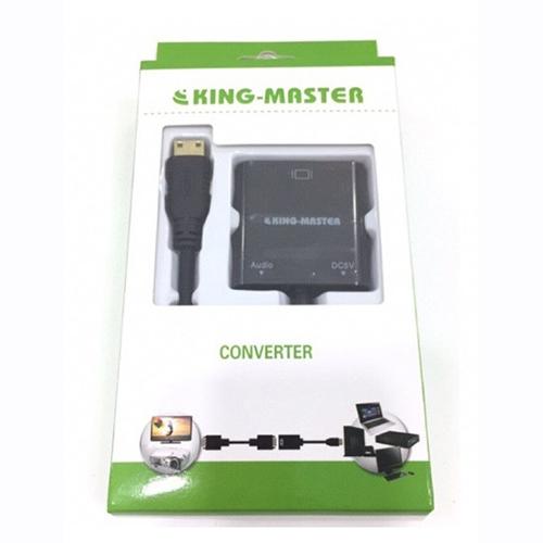 Cáp Mini HDMI (K) -> VGA (L) + Audio KM KY H125B, Cáp chuyển đổi Mini HDMI sang vga có audio Kingmaster KY H125B-HÀNG CHÍNH HÃNG
